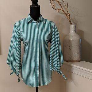 Beautiful Green Striped Balloon Tie Sleeves Shirt